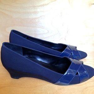 Van Eli Blue Patent Leather Cross-Toe Flats   10